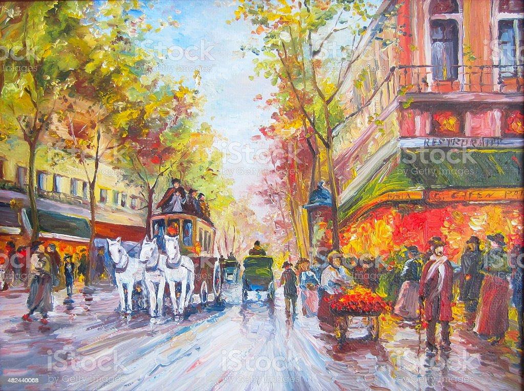 Original oil painting Paris vector art illustration