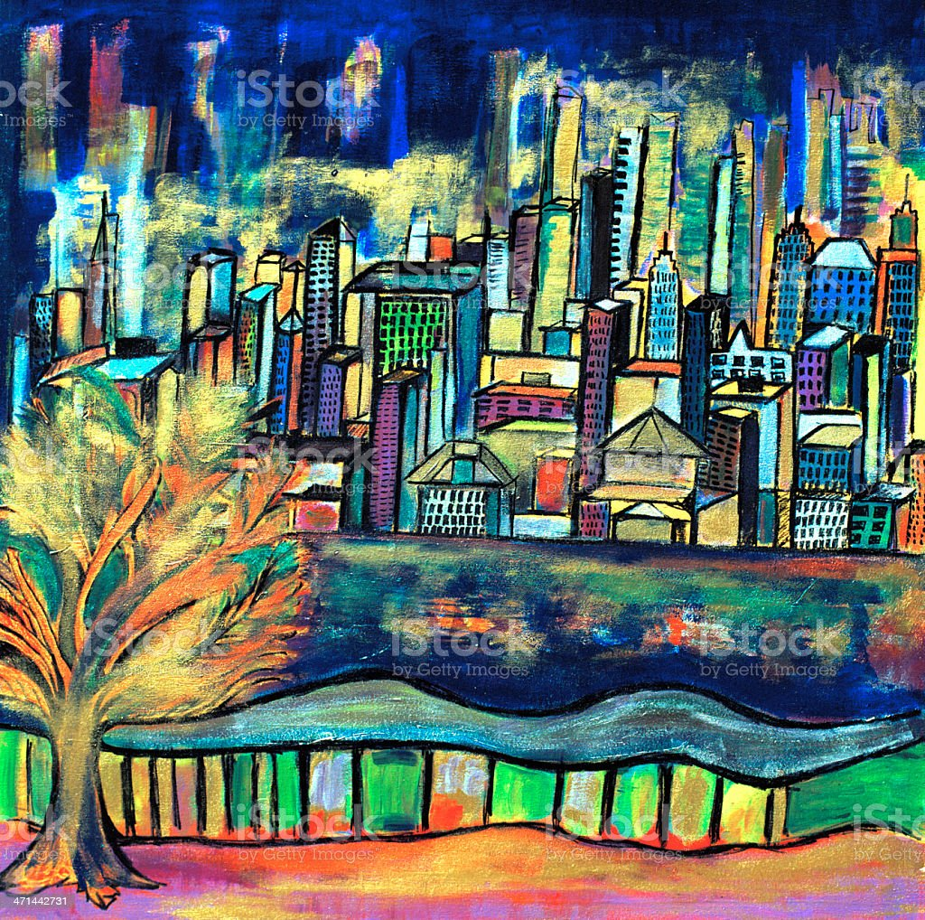 Original Painting, 'Manhattan', Acrylic on Canvas royalty-free stock vector art