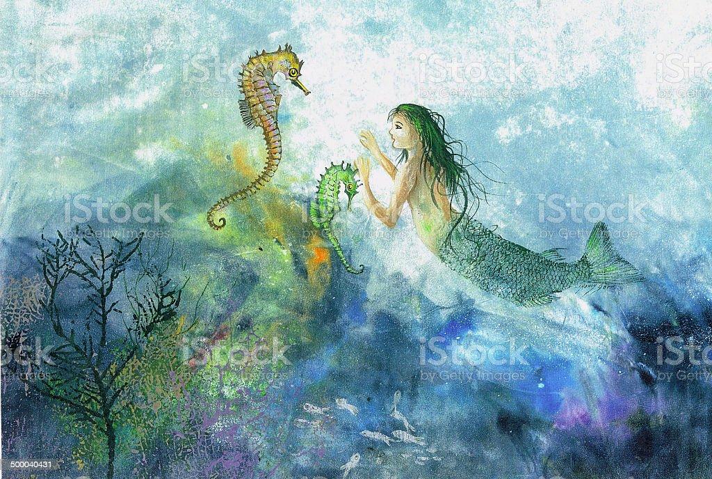 Cavalluccio marino dipinto originale e sirena immagini for Immagini di cavalluccio marino