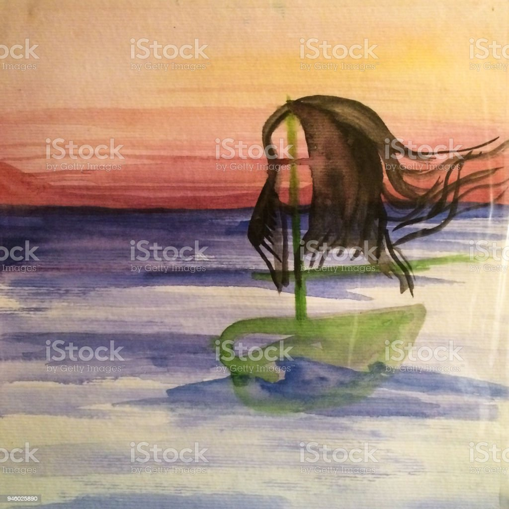 Original Watercolor Painting vector art illustration