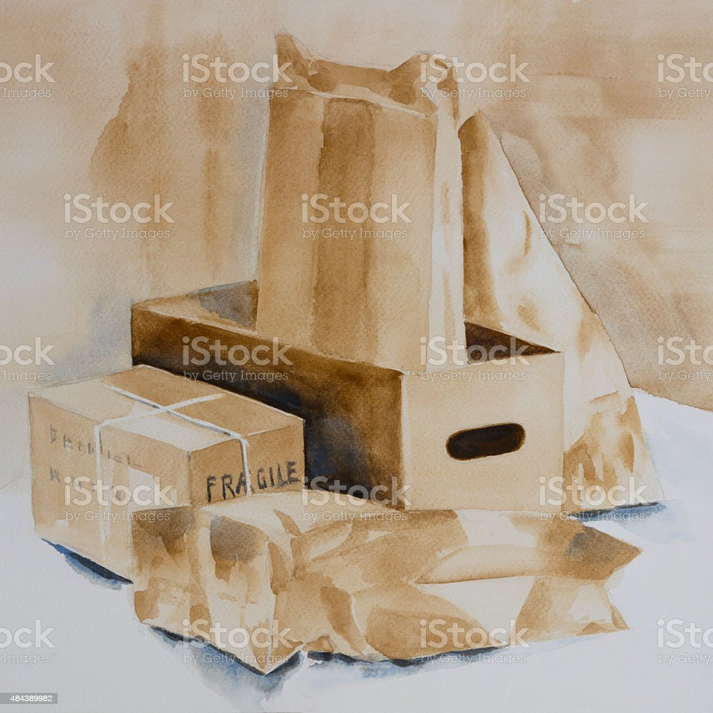 Original watercolour, a collection of boxes and packets vector art illustration