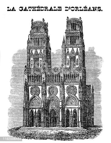 Steel engraving of Orléans Cathedral ( French: Basilique Cathédrale Sainte-Croix d'Orléans ) is a Roman Catholic church located in the city of Orléans, France. The cathedral is the seat of the Bishop of Orléans and was built from 1278 to 1329 and 1601 - 1829 Original edition from my own archives Source :