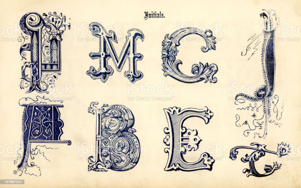 Ornamental initials royalty-free stock vector art