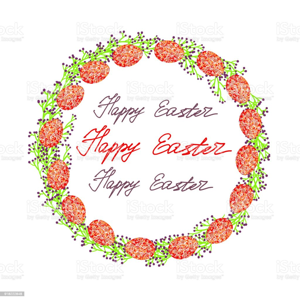 Ilustracin de Adornos De Huevos De Pascua Con Adorno Flores y ms