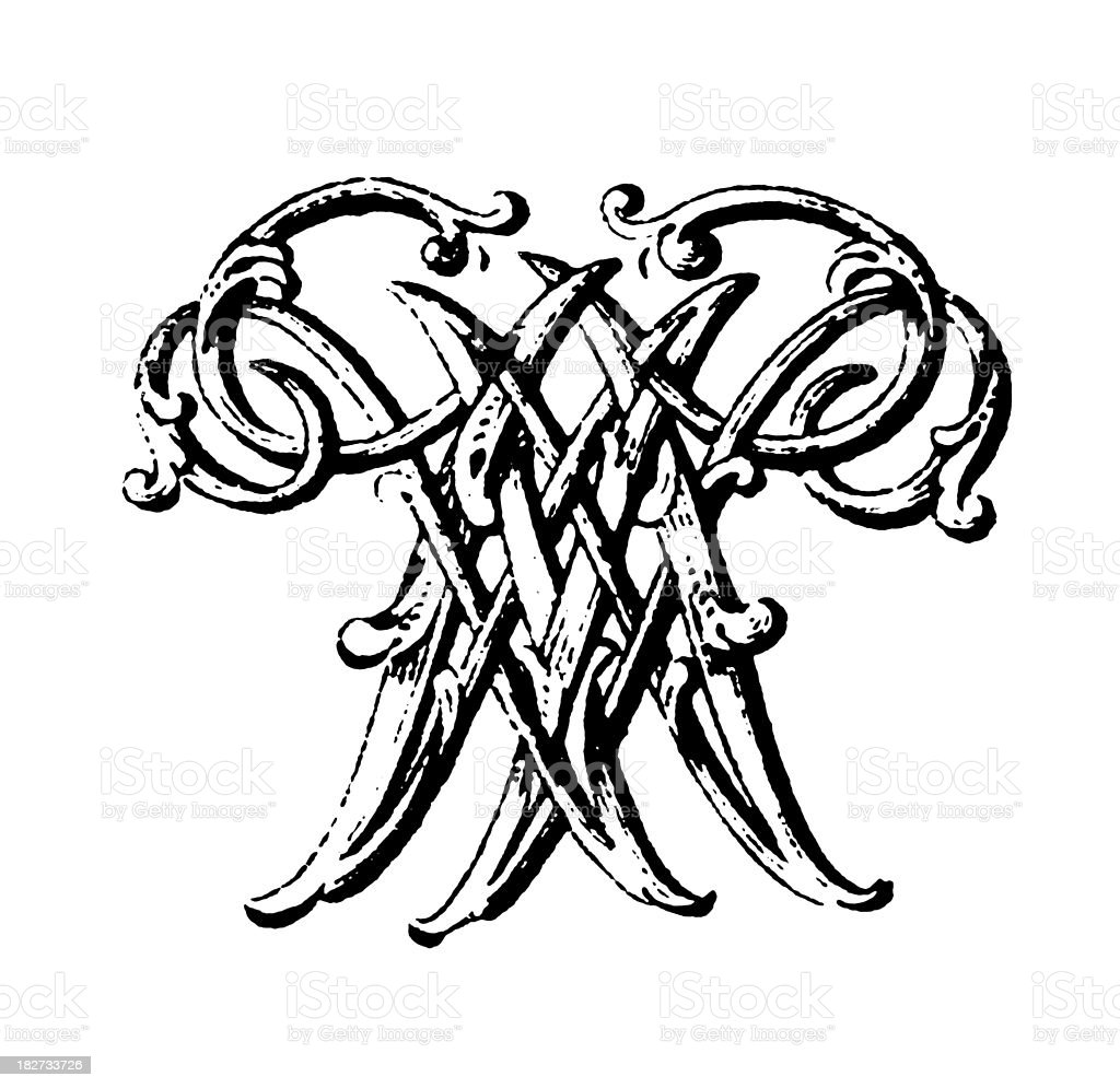 Ornamented Double Monogram | Letters WW royalty-free stock vector art