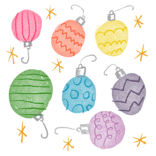 Ornaments drawing in rainbow colors Rainbow colored ornament drawing kathrynsk stock illustrations