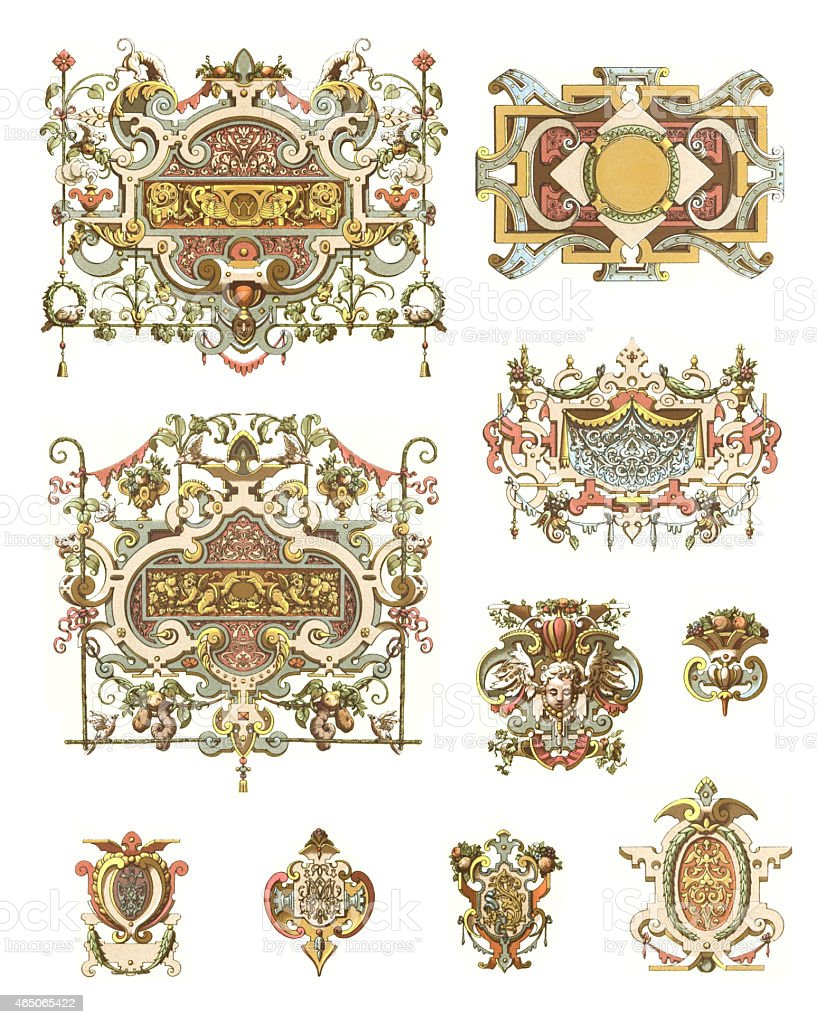 Ornaments France 16th Century vector art illustration