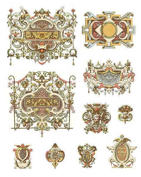 ornaments france 16th century - renaissance style stock illustrations, clip art, cartoons, & icons