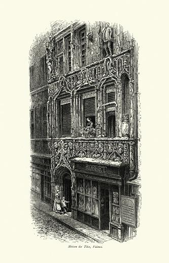 Vintage illustration of Maison des Tetes, Valence, Auvergne-Rhône-Alpes region, France, 19th Century. Example of transition between Gothic and Renaissance style architecture