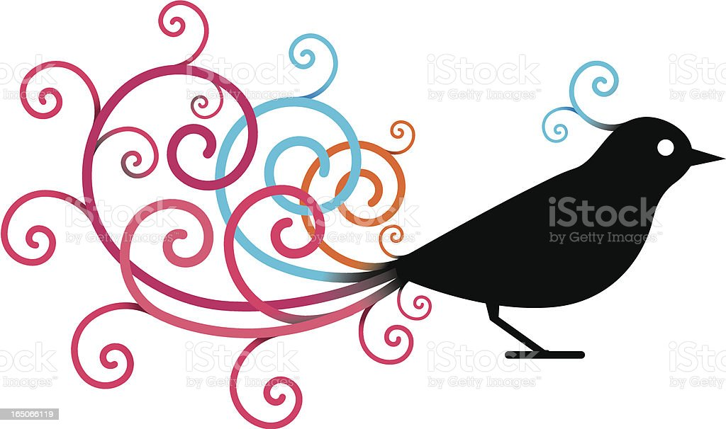 Ornate bird vector art illustration