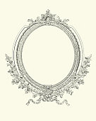 istock Ornate blank picture frame, border, Victorian, 19th Century 1254193521