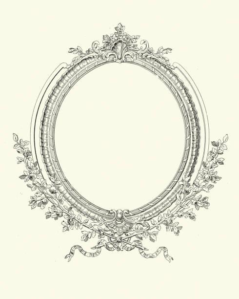 Ornate blank picture frame, border, Victorian, 19th Century vector art illustration