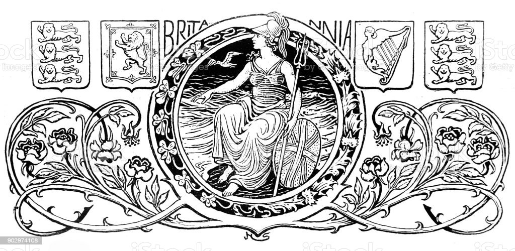 Ornate Britannia Design with England Flags vector art illustration