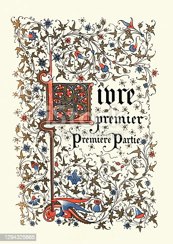 istock Ornate Calligraphy medieval style title, French, Livre premier, Premiere Partie 1294325865
