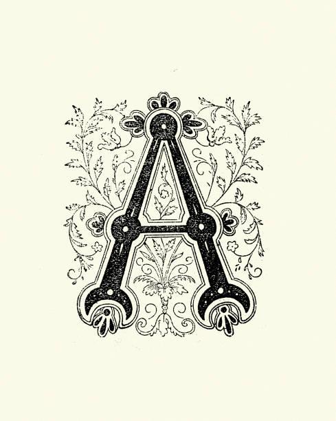 Ornate Capital letter A vector art illustration