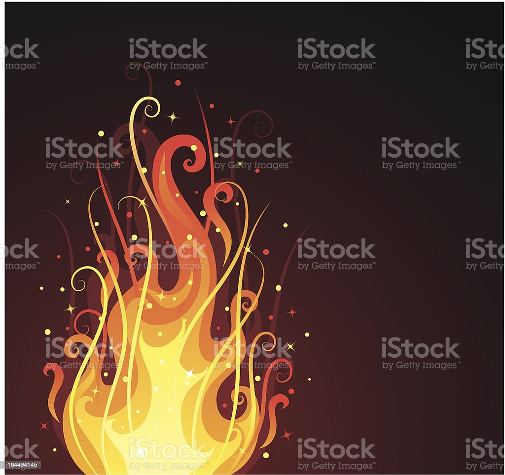 Ornate fire. vector art illustration