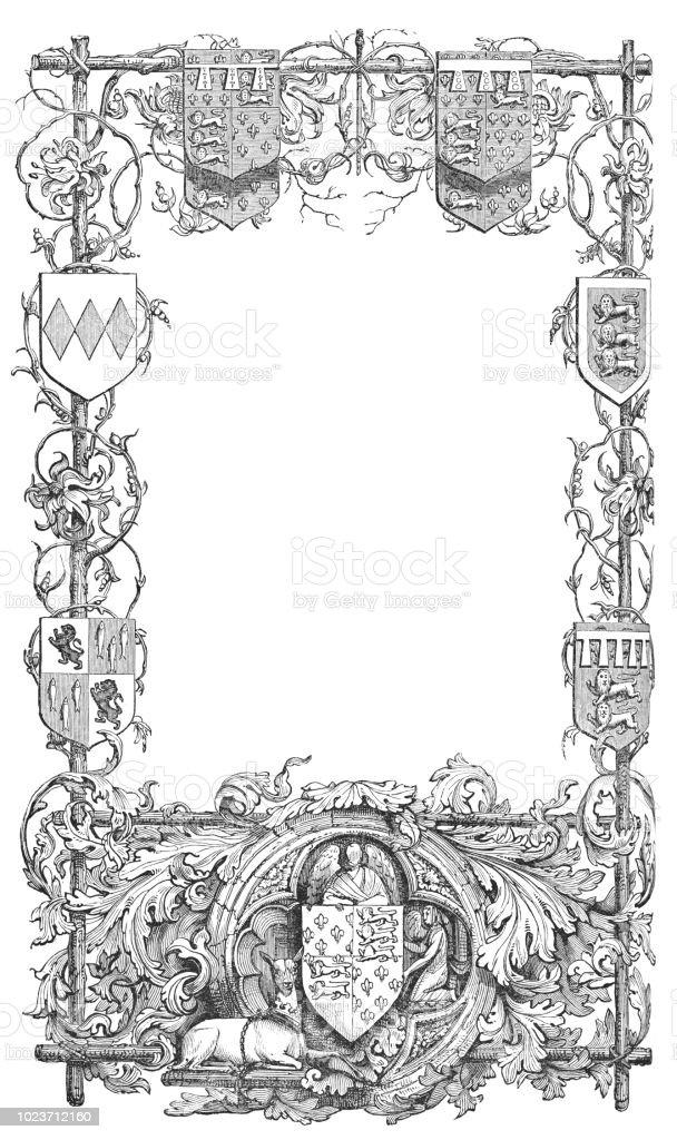 Ornate Floral Medieval Frame Stock Illustration Download