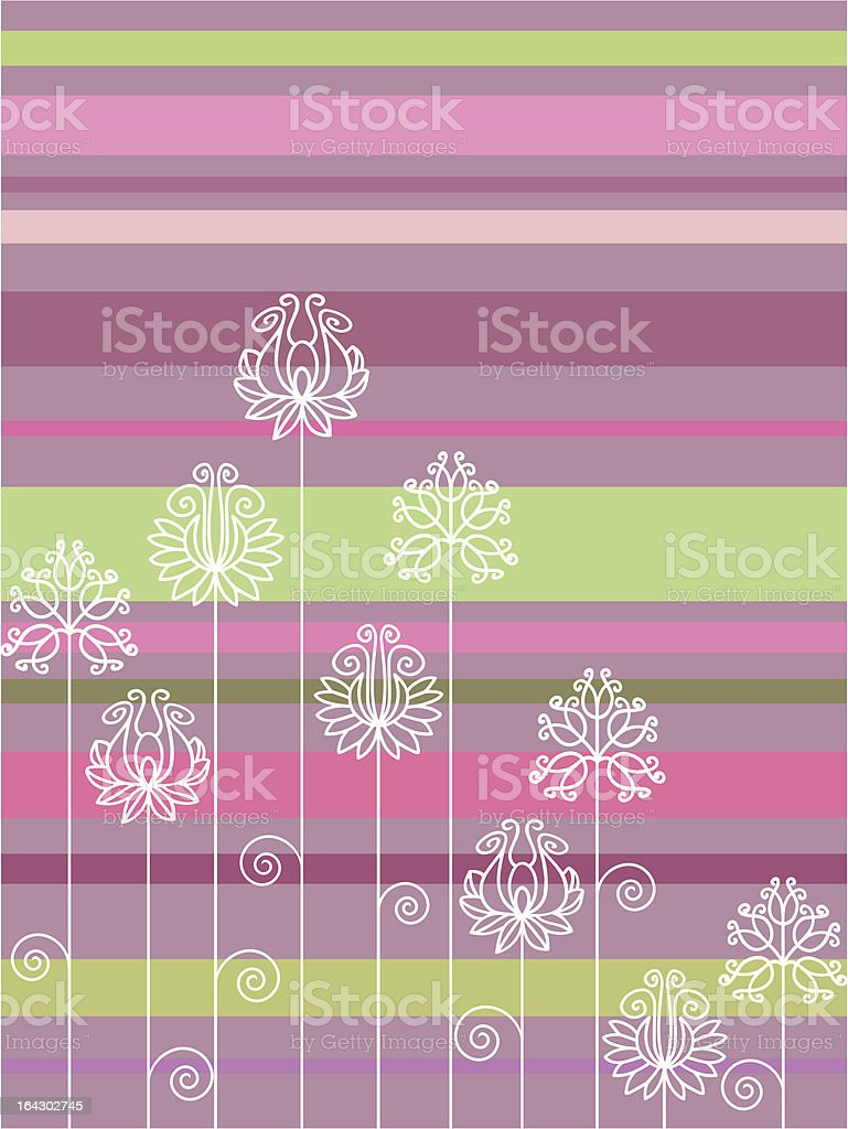 Ornate flowers on striated background royalty-free stock vector art