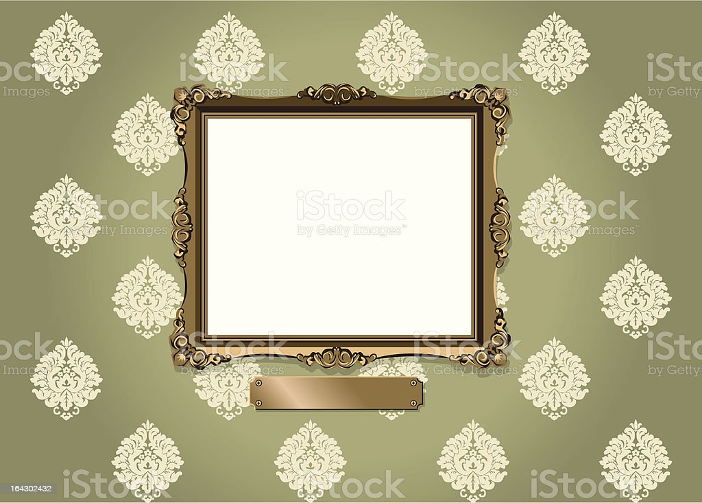Ornate frame and plaque against vintage wallpaper vector art illustration