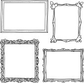 """Various ornate frame in sketch style, Black and White"""