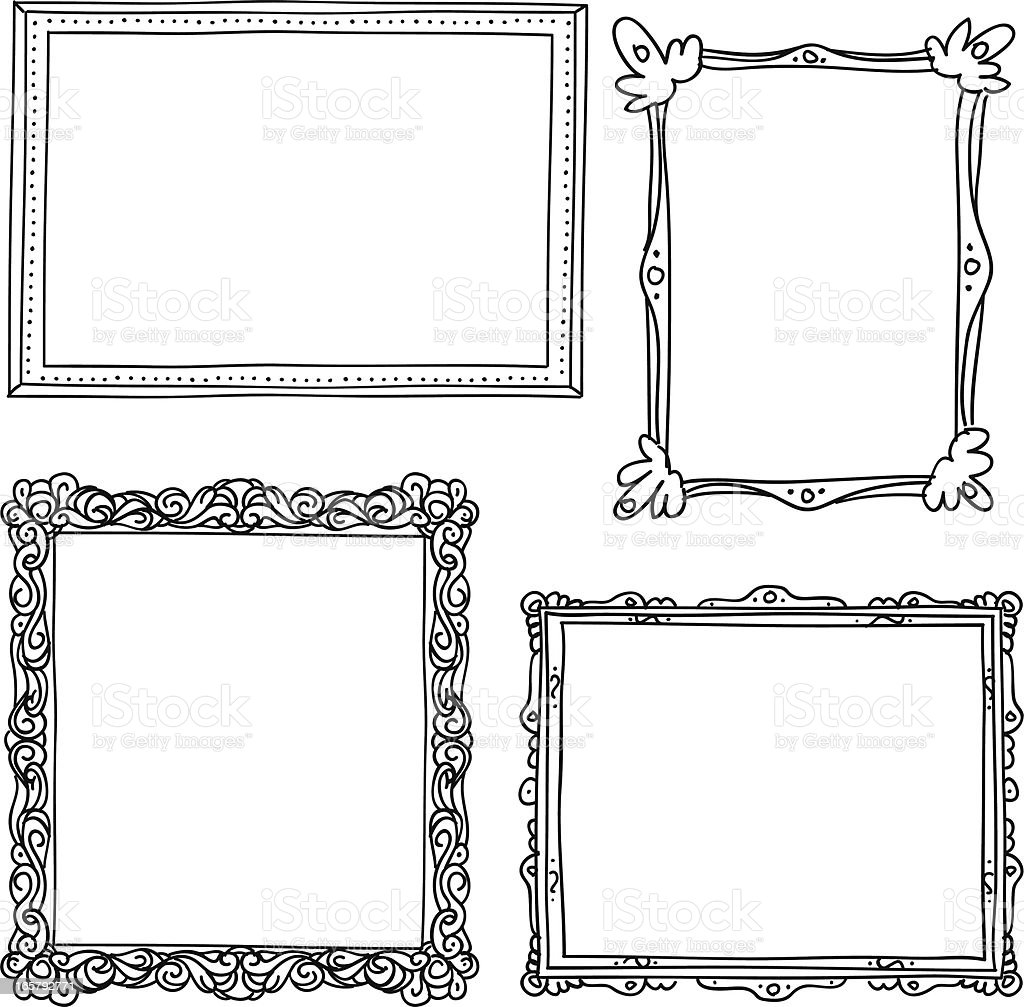 Ornate frame in sketch style vector art illustration