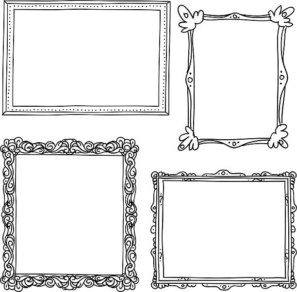 ornate frame in sketch style - doodles and hand drawn frames stock illustrations, clip art, cartoons, & icons