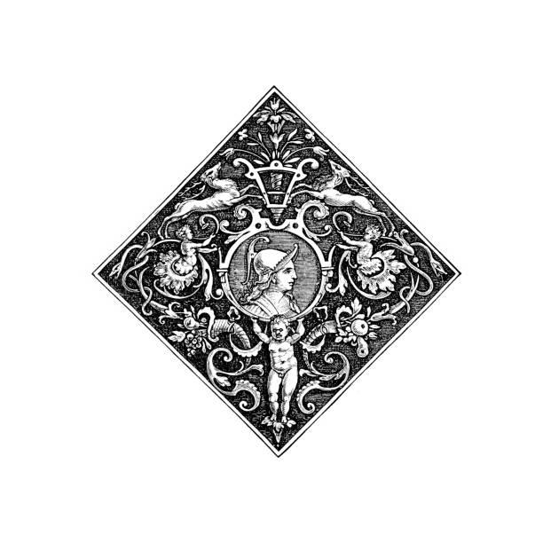illustrations, cliparts, dessins animés et icônes de diviseur graphique orné avec le chérubin de l'anglais illustrated magazine 1886 - enluminure bordure