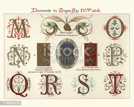 Vintage engraving of Ornate Illuminated manuscript letters and design elements, 16th Century. Letters, M, N, O, P, Q, R, S, T