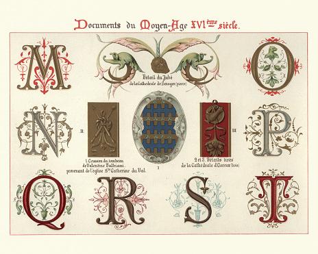 Ornate Illuminated manuscript letters and design elements, 16th Century