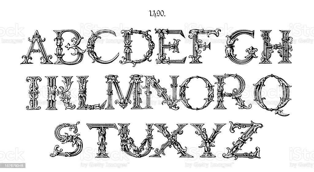 Ornate initial capitals from around 1490 vector art illustration