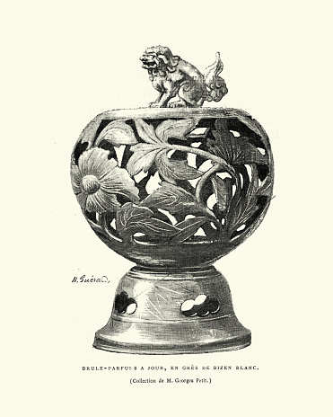 Vintage engraving of Ornate japanese insense burner, 19th Century