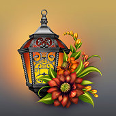 ornate lantern with autumn colorful flowers arrangement, seasonal greetings illustration
