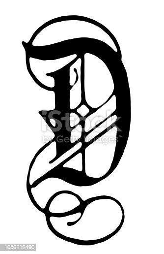Illustration of a Ornate letter D