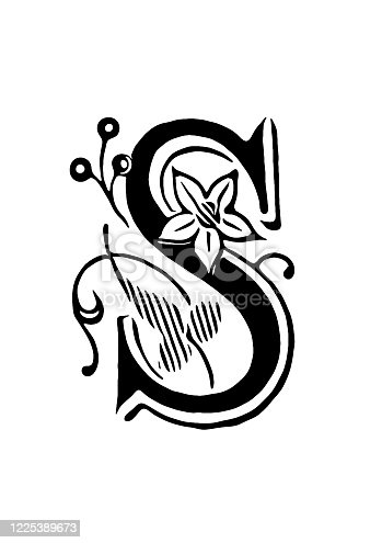 Illustration of a Ornate letter S