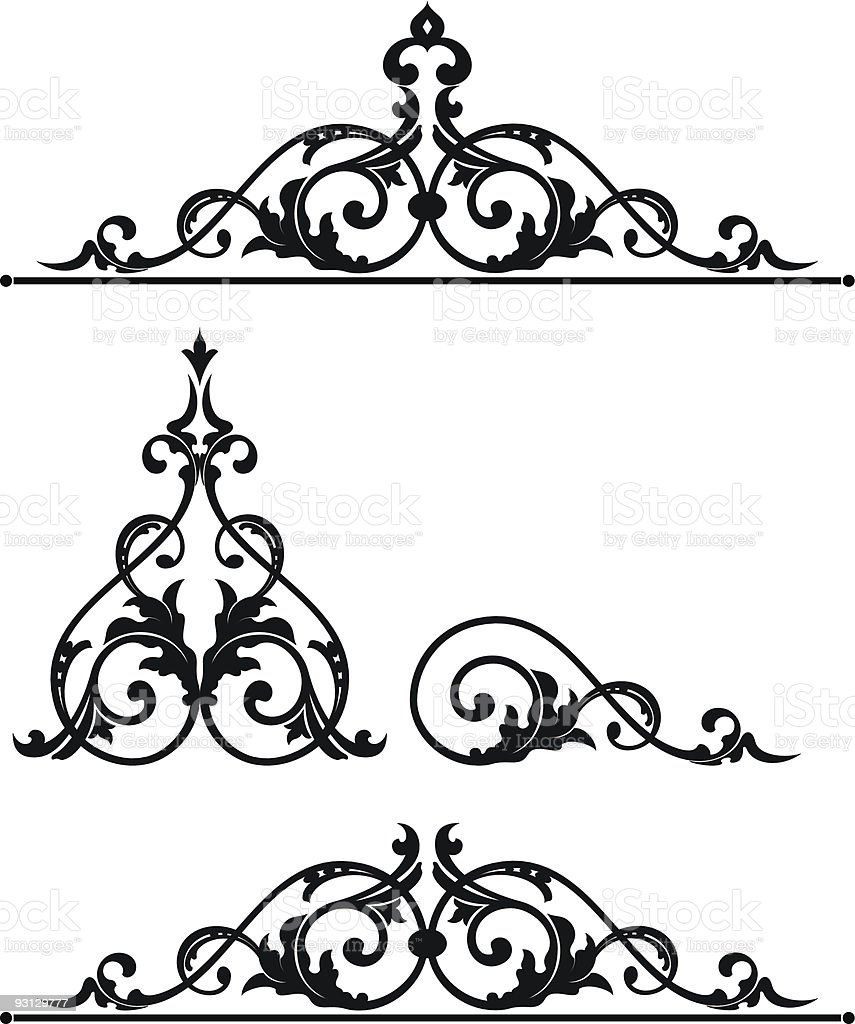 Ornate Scroll Design Set royalty-free stock vector art