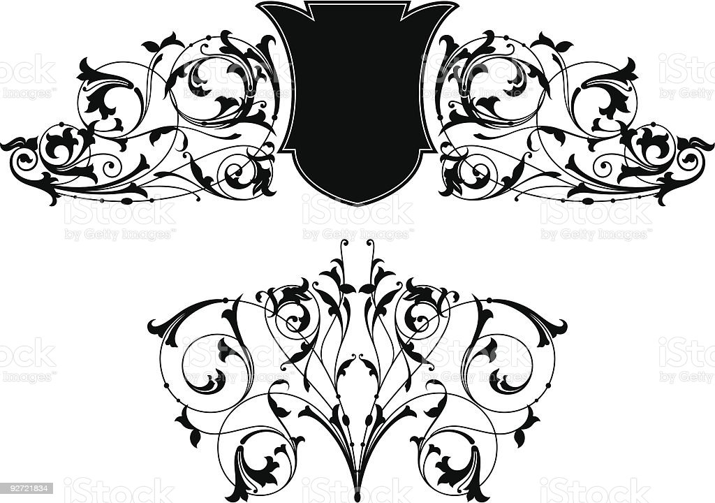 Ornate Scroll Design & Shield (Vector) royalty-free stock vector art
