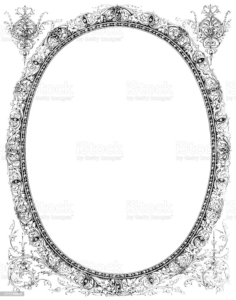Ornate Victorian Oval Frame Stock Vector Art More Images Of 1870
