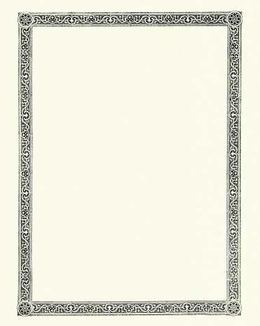 Vintage engraving of a Ornate victorian style border design element