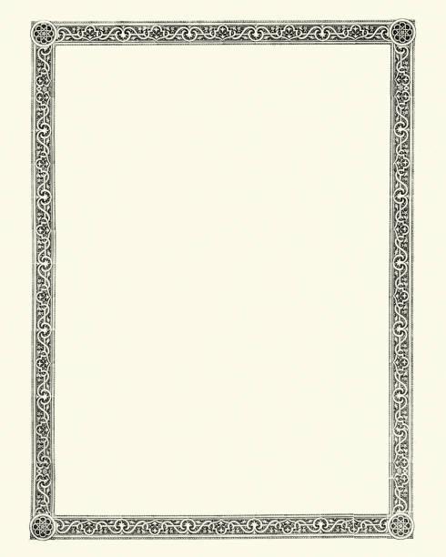 Ornate victorian style border design element Vintage engraving of a Ornate victorian style border design element uk border stock illustrations