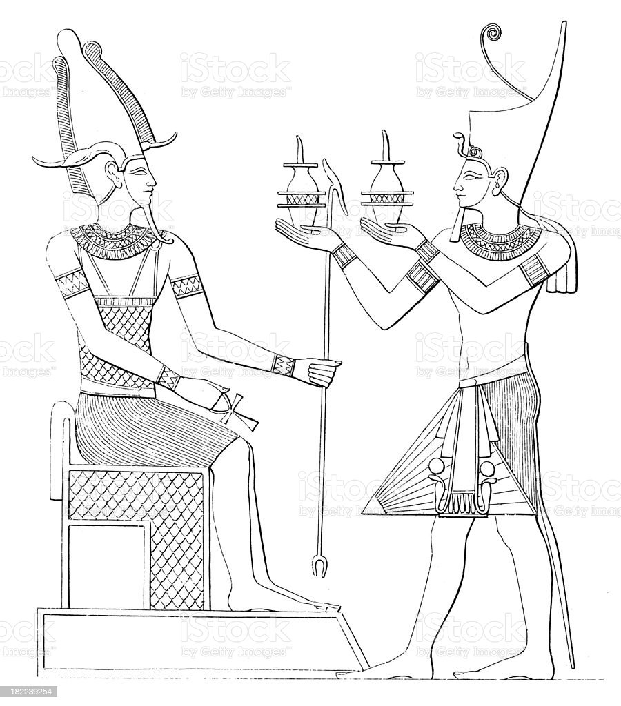 Osiris and Pharaoh | Antique History Illustrations royalty-free stock vector art