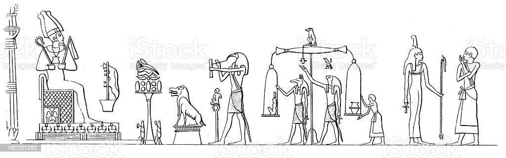 Osiris Judges the Dead | Antique History Illustrations royalty-free stock vector art