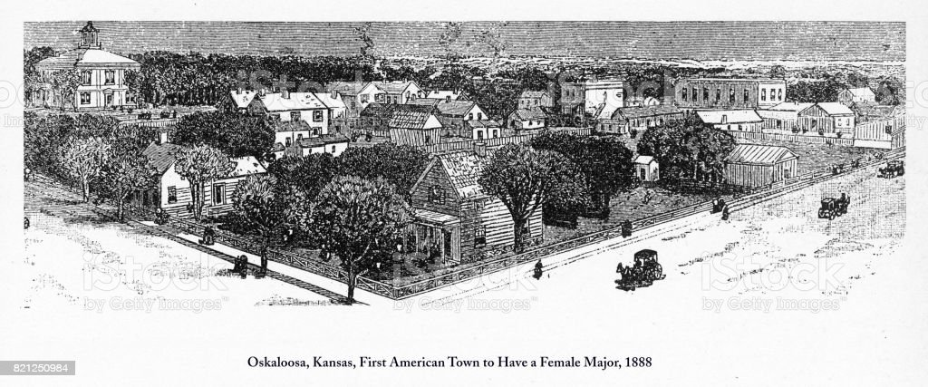 Oskaloosa, Kansas, First American Town to Have a Female Major, 1888 vector art illustration