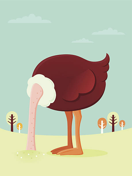stockillustraties, clipart, cartoons en iconen met ostrich burying his head in the sand - struisvogel