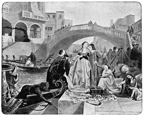 Othello and Desdemona along the Grand Canal in Venice, Italy