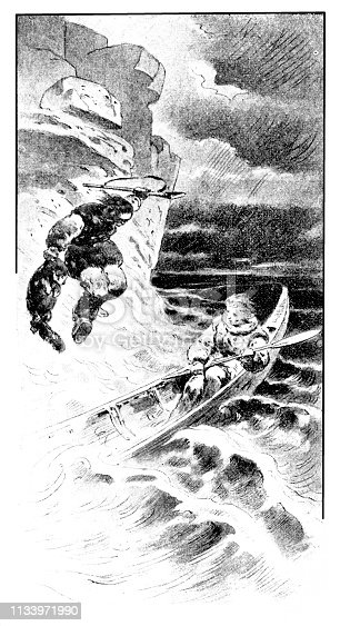 Illustration of a Otter hunting of the Aleutians