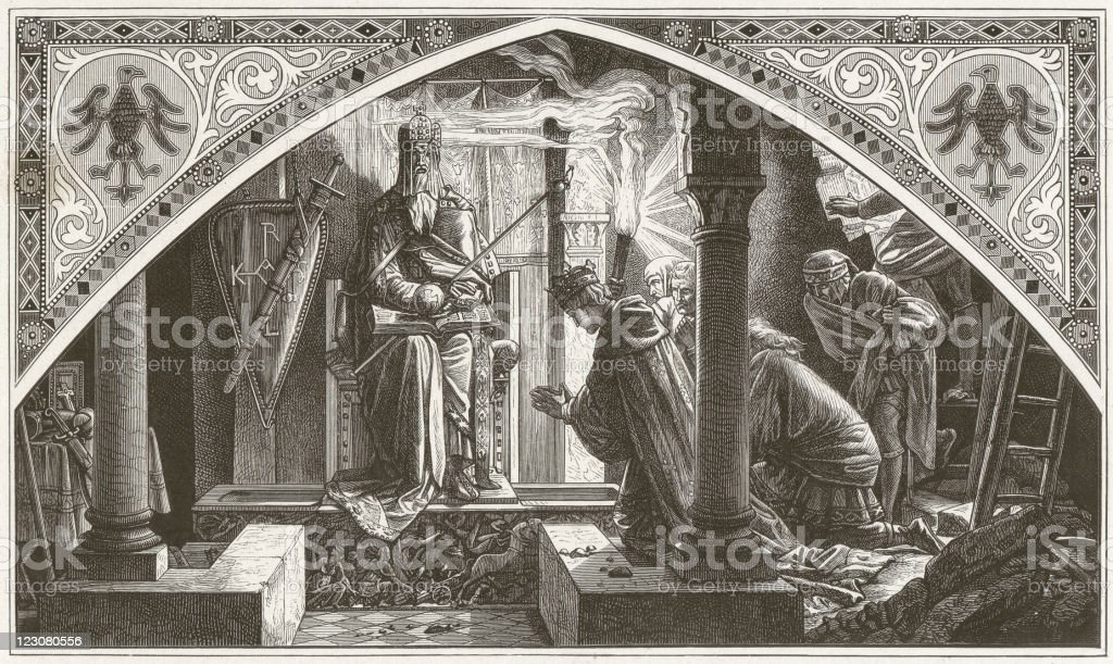 Otto and Charlemagne, by Alfred Rethel, wood engraving, published 1881 royalty-free otto and charlemagne by alfred rethel wood engraving published 1881 stock vector art & more images of admiration