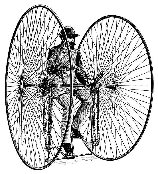 stockillustraties, clipart, cartoons en iconen met otto bicycle | antique transportation illustrations - uitvinding