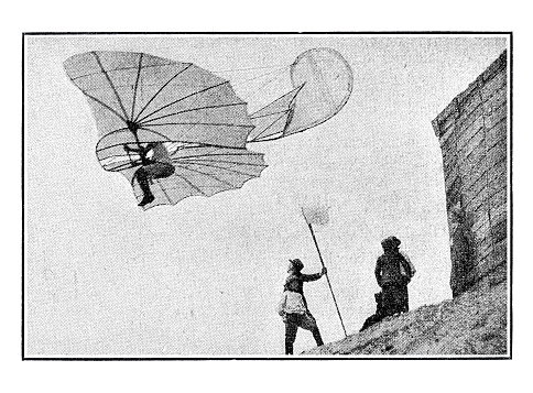Otto Lilienthal first man flying with air vehicle in Germany 1893