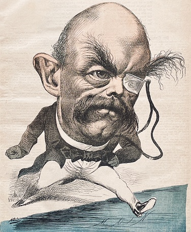 Otto von Bismarck caricature:  jumping from Berlin into the world with one big step