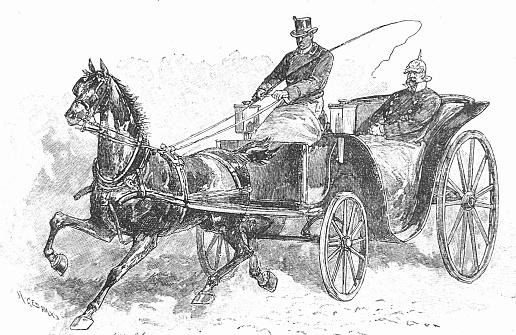 Otto von Bismarck in a carriage, Berlin 1862